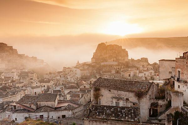 Old Town quarter Sasso Caveoso and Monte Errone with sunrise, UNESCO world cultural heritage, Matera, Basilicata, Apulia, Italy