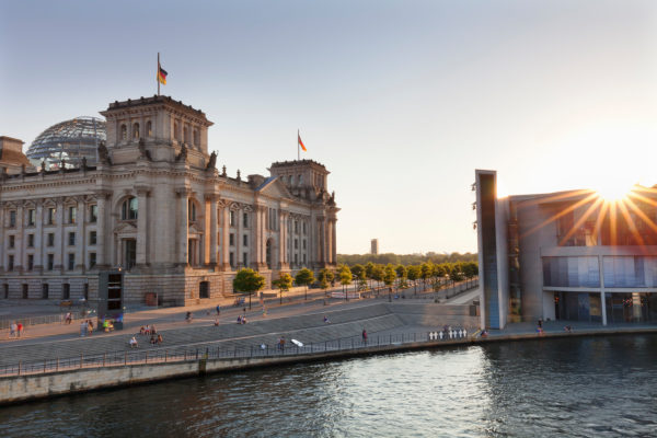 Reichstag at sundown, the Mitte district of Berlin, Berlin, Germany