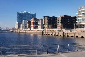 view from the Magellan-Terrassen to the Elbphilharmonie, hafencity, Hamburg, Germany