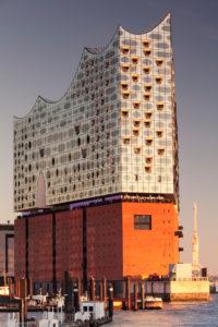 Elbphilharmonie at sundown, hafencity, Hamburg, Germany