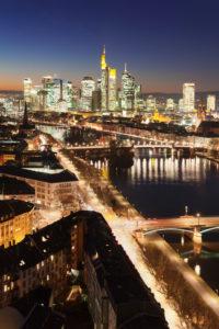 Skyline with financial district, Frankfurt, Hessia, Germany
