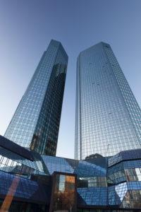 Doubles towers of Deutsche Bank, Frankfurt, Hessia, Germany