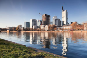 View over the Main (river) to the skyline of Frankfurt, Hessia, Germany