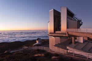 Observatory on Roque de los Muchachos at sundown, Parque Nacional de la Caldera de Taburiente, La Palma, Canary islands, Spain