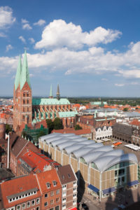 View about the Old Town with Marien's church and city hall, Lübeck, Schleswig Holstein, Germany