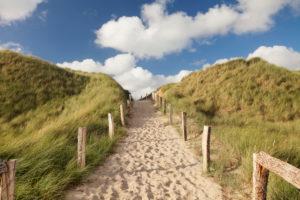 Weg über eine Düne zum Weststrand, Sylt, Nordfriesland, Schleswig Holstein, Deutschland