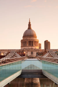 Millenium Bridge and St. Paul's Cathedral, London, England, Great Britain