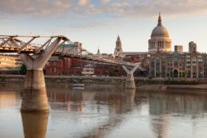 Millenium Bridge, the Thames and St. Paul's Cathedral, London, England, Great Britain