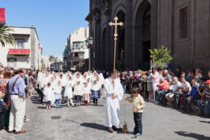 Easter procession in the old town Vegueta, UNESCO world cultural heritage, Las Palmas, Gran Canaria, Canary Islands, Spain