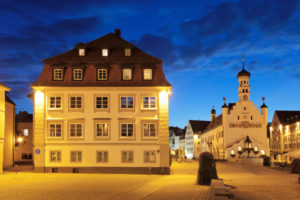 Town hall square with town hall, Kempten, Swabia, Bavaria, Germany