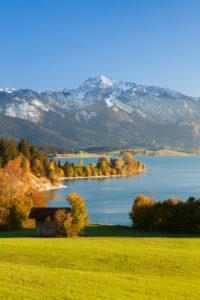 Blick vom Forggensee zu den Alpen, Ostallgäu, Oberbayern, Deutschland