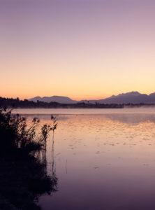 Tagesanbruch am Hopfensee, Allgäu, Bayern, Deutschland