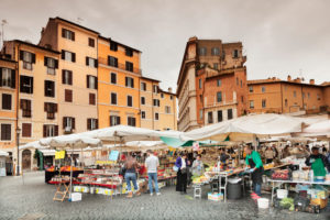 Market on the Campo de Fiori square, Rome, Lazio, Italy