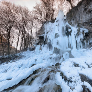 Bad Uracher waterfall in winter, Swabian Jura, Baden-Württemberg, Germany