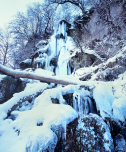Bad Urach waterfall in winter, Swabian Alb, Baden-Württemberg, Germany