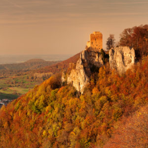 Reussenstein castle ruins above the Neidlinger valley at sunset in autumn, Swabian Alb, Baden-Württemberg, Germany
