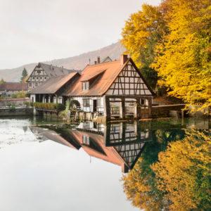 Hammer mill, 'Blautopf' spring, Blaubeuren, Swabian Jura, Baden-Wuerttemberg, Germany