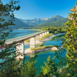 Bridge over Sylvenstein Dam near Lenggries, German Alpine Road, Upper Bavaria, Bavaria, Germany