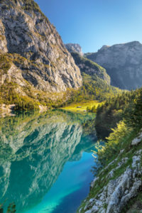 Obersee with view to the Fischunkelalm, Salet in the Königssee, Berchtesgadener country, national park Berchtesgaden, Upper Bavaria, Bavaria, Germany