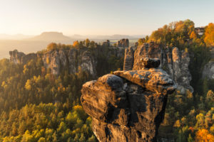 Wehlnadel and Bastei rock, Bastei, Elbe Sandstone Mountains, Saxon Switzerland National Park, Saxony, Germany