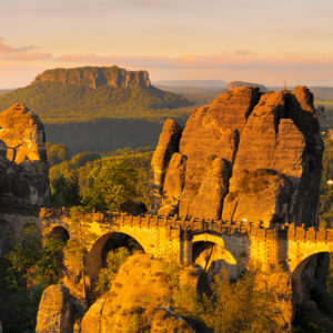 Sunrise at the Bastei bridge, Bastei near Rathen, Elbe Sandstone Mountains, Saxon Switzerland National Park, Saxony, Germany
