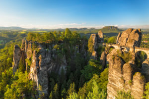 Bastei bridge, Bastei near Rathen, Elbe Sandstone Mountains, Saxon Switzerland National Park, Saxony, Germany