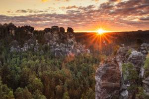 Bastion at sunrise, Rathen, Elbe Sandstone Mountains, Saxon Switzerland National Park, Saxony, Germany