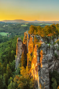 View over the Bastei Bridge to the Lilienstein, Elbe Sandstone Mountains, Saxon Switzerland National Park, Saxony, Germany
