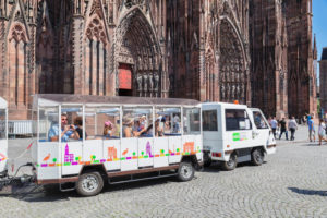 Tourist train at Strasbourg Cathedral, Strasbourg, Alsace, France