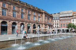 Street cafes on Kleberplatz in the old town, Strasbourg, Alsace, France