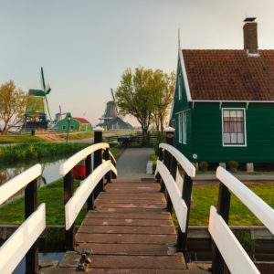 Zaanse Schans open air museum at sunrise, Zaandam, North Holland, Netherlands