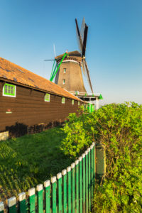 Windmill in the Zaanse Schans Open Air Museum, Zaandam, North Holland, Netherlands