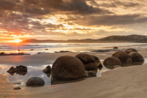 Moeraki Boulders at sunrise, Moeraki Beach, Otago, South Island, New Zealand, Oceania