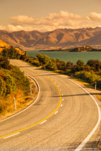 Road to Glenorchy at sunset, Lake Wakatipu, Queenstown, Otago, South Island, New Zealand, Oceania