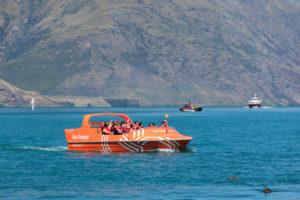 Speeedboat on Lake Wakatipu, Queenstown, Otago, South Island, New Zealand, Oceania
