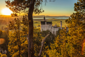 Neuschwanstein Castle at sunset, Schwangau near Füssen, Allgäu, Swabia, Bavaria, Germany