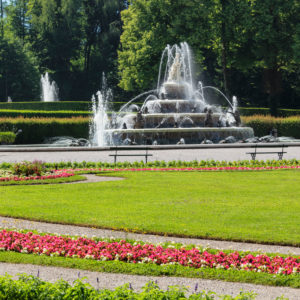 Fountain in the park of Herrenchiemsee Palace, Herreninsel im Chiemsee, Upper Bavaria, Germany