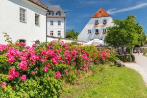 Klosterwirt restaurant at Frauenwörth Monastery on Fraueninsel, Chiemsee, Upper Bavaria, Germany