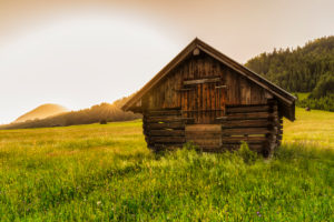 Hay barn at Geroldsee at sunset, Klais, Upper Bavaria, Bavaria, Germany