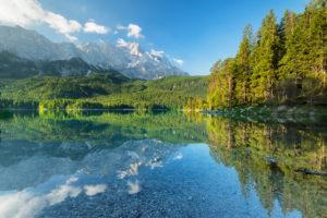 Eibsee against Zugspitze, near Grainau, Werdenfelser Land, Bavaria, Germany