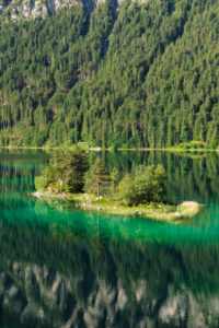 Islands in the Eibsee, near Grainau, Werdenfelser Land, Bavaria, Germany