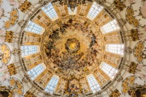 Kuppel der Klosterkirche Ettal, Werdenfelser Land, Oberbayern, Bayern, Deutschland