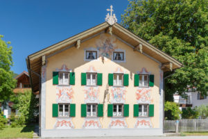 Facade with Lüftlmalerei, Oberammergau, Ammertal, Upper Bavaria, Germany