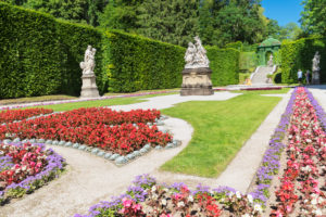 Palace garden of Linderhof Palace, Upper Bavaria, Bavaria, Germany