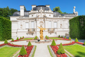 West parterre in the palace gardens with Linderhof Palace, Upper Bavaria, Bavaria, Germany
