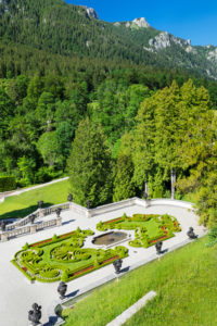 Castle park above the staircase, Linderhof Castle, Ammer Mountains, Upper Bavaria, Bavaria, Germany