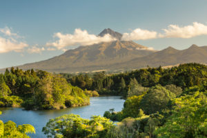 Lake Mangamahoe with Mount Taranaki (2518m), Egmont National Park, Taranaki, North Island, New Zealand, Oceania