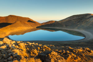 Blue Lake, Tongariro National Park, UNESCO World Heritage Site, Ruapehu, North Island, New Zealand, Oceania
