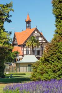 Bath House, Museum of Art and History, Government Garden, Rotorua, Bay of Plenty, Nordinsel, Neuseeland, Ozeanien