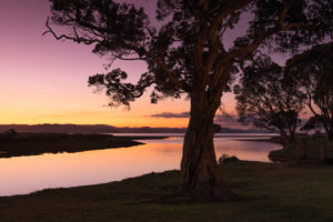Sunset on the Kuaotuno River, east coast of the Coromandel Peninsula, Waitako, North Island, New Zealand, Oceania, Whitianga